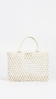 Clare Vivier, India Fashion, Knitted Bags, Leather Handle, Tote Bag, Weave, Basket, Stuff To Buy, Indian Fashion