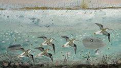 Curlews in the Rain. 31 x Ingebjorg Smith Bird Illustration, Galleries, It Works, Original Art, Mixed Media, Rain, Birds, Artists, Animals
