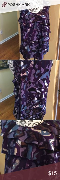 Ann Taylor LP sleeveless top. Ruffles on front. Ann Taylor top with ruffles on front. Large Petite.  New condition. Ann Taylor Tops
