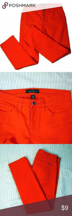 Ralph Lauren orange pencil skinny jeans Ralph Lauren orange pencil skinny jeans 97% cotton, 3% elastane Waist 28 Rise 5 Inseam 27 Logo on back pocket Excellent condition Lauren Ralph Lauren Jeans Skinny
