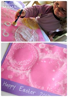 Are you starting to plan your Easter crafts and activities yet? Simple Easter Doily Resist Painting at B-Inspired Mama