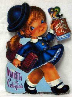 Martita la Colegiala. Texto y dibujos de Jose Luís López Nostalgia, Big Eyes, My Childhood, Minis, Illustrations, Character, Short Stories, Sentences, Memoirs