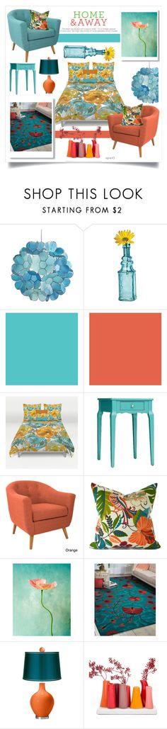 """""""BLOOM IN MY ROOM : TEAL AND ORANGE"""" by amltra ❤ liked on Polyvore featuring interior, interiors, interior design, home, home decor, interior decorating, Pier 1 Imports, Cultural Intrigue, Inspire Q and angelo:HOME"""
