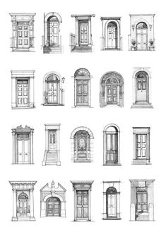 The Blue Plaque Doors - Book One — Luke Adam Hawker - architecture - Interior Architecture Drawing, Architecture Drawing Sketchbooks, Architecture Concept Drawings, Architecture Design, Landscape Architecture, Classical Architecture, Watercolor Architecture, Georgian Architecture, Minimal Architecture