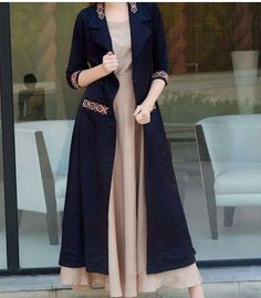Long Kurti With Jacket And Embroidery Work Jacket Style Kurti, Kurti With Jacket, Gown With Jacket, Abaya Fashion, Women's Fashion Dresses, Indian Fashion, Cardigan Fashion, Indian Gowns Dresses, Shrug For Dresses