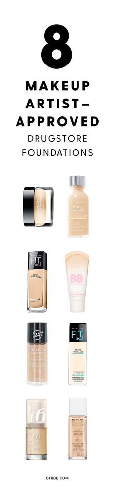 It's Official: Makeup Artists Are Obsessed With These Drugstore Foundations Makeup artist-approved drugstore foundations. Looking for the best drugstore makeup dupes? This article covers foundation, lipsticks, mascara, concealer, and eyeliner. Drugstore Eyeliner, Drugstore Makeup Dupes, Drugstore Concealer, Eyeliner Brush, Best Drugstore Foundation, No Foundation Makeup, Foundation Contouring, Contouring Products, Makeup Tricks