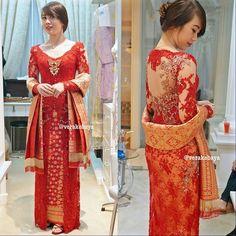 Dazzle Red Kebaya - A modern kebaya combined with Palembang Songket.