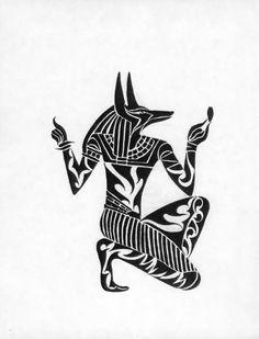 Black Tribal Anubis Tattoo Design