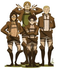 Hanji, Erwin, Levi and Mike in survey corps