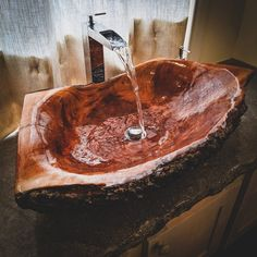 Reserved Large log wood vessel Sink Wooden Rustic chic bohemian decor Bathroom by TOUTANBWA Rustic Bathroom Designs, Rustic Bathrooms, Dream Bathrooms, Rustic Chic, Rustic Wood, Boho Chic, Chic Chic, Hippie Chic, Boho Style