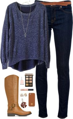 not so cold winter day by classically-preppy featuring clear earrings ❤ liked on Polyvore Jumper top / J Brand mid-rise jeans, $185 / Kate Spade clear earrings / Kendra Scott mother of pearl necklace...