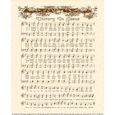 VICTORY IN JESUS 8 x 10 Antique Hymn Art Print by VintageVerses, $5.00 --- I just got the license to do this hymn. What a blessing! Shown here on natural parchment in sepia brown ink, other colors available. Sheet music
