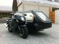 Suzuki Hayabusa Motorcycle Hearse. Available from Thos. Furber & Co. Ltd. Funeral Directors - just contact www.thosfurberandco.ltd.uk