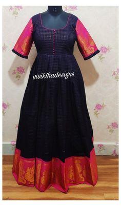 Kids Blouse Designs, Saree Blouse Neck Designs, Half Saree Designs, Dress Neck Designs, Designs For Dresses, Hand Designs, Cotton Frocks, Cotton Gowns, Cotton Saree