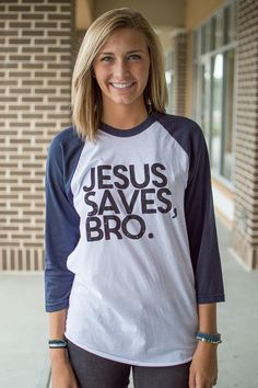 "Riley Clay ""Jesus Saves Bro"" baseball tee"