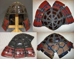 Antique Edo period samurai karuta tatami kabuto (folding helmet made with karuta armor).