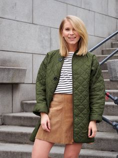 LACK OF COLOUR / Quilted green bomber / OOTD / Suede skirt