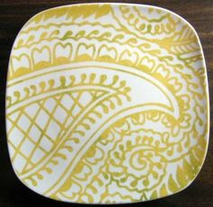 Decorative Dishes - Exotic Yellow Green Paisley on White Square Plate Tile M, $19.99 (http://www.decorativedishes.net/exotic-yellow-green-paisley-on-white-square-plate-tile-m/)