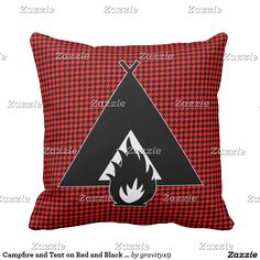 #Campfire and Tent Throw Pillow ~ The black and red checkerboard background can be removed, if you'd like to add your own color to the back of the Tent and campfire design. The design can also be made larger or smaller. You can add text and a photo, too!  #Gravityx9 #Zazzle