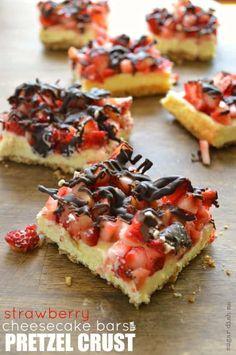 Strawberry Cheesecake Bars, Pretzel Crust, August 31, Chocolate Strawberries, Vegetarian Recipes, Baking, Breakfast, Desserts, Food