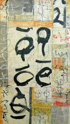 "Laura Wait, ""Pasticcio IV,"" Encaustic and Mixed Media on Panel, 42×24 #hunterkirklandcontemporary #art"