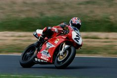 Troy Corser on the Privateer Promentor Ducati. WSB title in 1996. Having already won Aus and AMA Superbike titles.