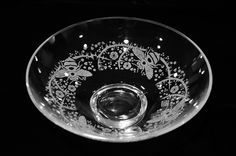 Etched Glass Bowl, Bees and Thorns Pattern. March 2014. Bally Studios