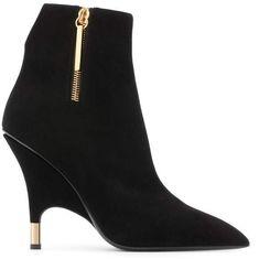 Giuseppe Zanotti Ankle Boots - Black booties with gold zipper Black Suede Boots, Black Booties, Black Heels, Giuseppe Zanotti Boots, Boot Shop, Sexy Boots, Fashion Heels, Beautiful Shoes, Stiletto Heels