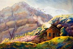 Painting - Off The Grid by Mary Giacomini , Mountain Paintings, Cabins In The Woods, Bedroom Art, Paintings For Sale, Fine Art Photography, Fine Art America, Watercolor Paintings, Art Gallery, Original Art