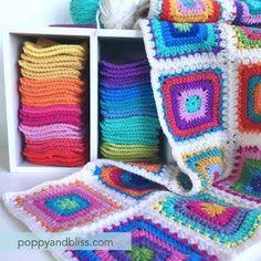 crochet motifs | poppyandbliss Crochet Throw Pattern, Afghan Crochet Patterns, Crochet Squares, Crochet Granny, Baby Blanket Crochet, Crochet Motif, Crochet Yarn, Granny Squares, Crochet Afghans