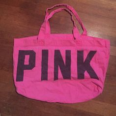 Pink Victoria's Secret bag Has some fading but nothing else wrong. Stitching is all together and it's such a great bag! PINK Victoria's Secret Bags