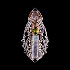 Jason Burruss Pendant with Aquamarine and Facetted Peridot, Gold and Silver Peridot, Glass Art, Pendant, Silver, Jewellery, Writing, Modern Bathrooms, Hand Blown Glass, Rhinestones
