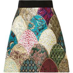 Dolce & Gabbana Patchwork brocade mini skirt ($717) ❤ liked on Polyvore featuring skirts, mini skirts, turquoise, flare skirt, zipper skirt, print skirt and flared mini skirt