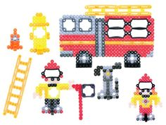 Perler Beads Fire Emergency Fused Bead Kit Create a fire truck, firefighters and accessories with Perler fused beads