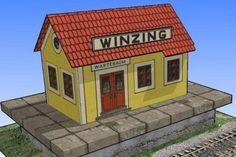 Simple Vintage Austrian Winzing Train Station Free Building Paper Model Download