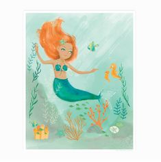 This deep sea cutie is sure to delight the little mermaid in your life! Product details (Paper): - Printed using the best digital method currently available, resulting in great clarity and color satur