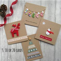 Set of 5 or 10 Christmas Cards Card Multipack Holiday Cards Xmas Cards Festive Cards Card Bundle Christmas Card Pack Cute Christmas Christmas Card Packs, Christmas Card Crafts, Homemade Christmas Cards, Christmas Cards To Make, Christmas Settings, Homemade Cards, Holiday Crafts, Button Christmas Cards, Cricut Christmas Cards
