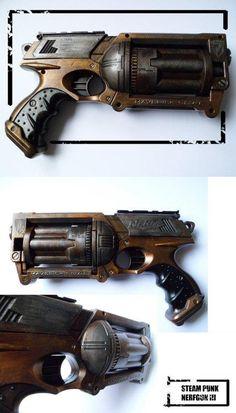 STEAMPUNK GUN- looks like some hacked nerf guns!
