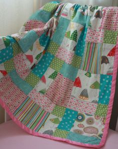 disappearing 9 block quilt -- love the umbrella fabric!