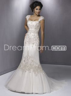 Gorgeous Trumpet/Mermaid Strapless Sleeveless  Embroidering Organza Wedding Dresses