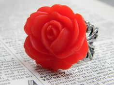 Love Spell Valentines Day Red Rose floral Ring by CreativeKates, $13.00