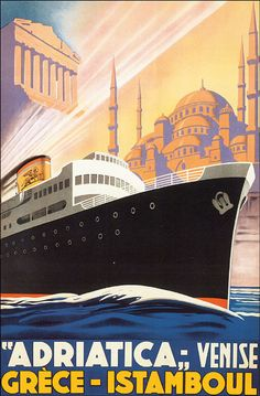 "GREECE STAMBUL TURKEY VENICE SHIP TRAVEL TOURISM VINTAGE POSTER REPRO 10""X16"""