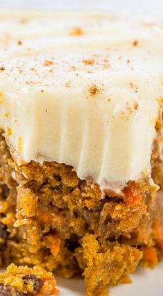 The Best Pumpkin Carrot Cake with Cream Cheese Frosting - Averie Cooks Fall Desserts, Just Desserts, Dessert Recipes, Thanksgiving Desserts, Wedding Desserts, Vegan Desserts, Wedding Cake, Pumpkin Cake Recipes, Pumpkin Dessert