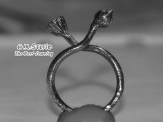 Hand Made 3D Silver Lotus Ring, Water Lily Flower Bud and Seedpot Ring, Origional Design
