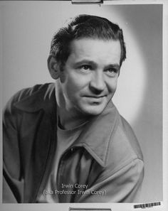 Comedian Actor Irwin Corey in his younger days.  Click the above image to read about his 100th Birthday Celebration at the Actors Temple July 29, 2013. http://carmenamorosgoldberg.com/?p=10110