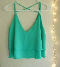 NEW CUTE SEXY CORAL MINT LAYERED CROP TOP BLOUSE - SIZE L Starting price $24.99 #CropTop #Fashion #Cute #TYCHE #Blouse