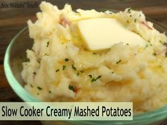Slow Cooker Creamy Mashed Potatoes on SixSistersStuff.com - prep these in the morning on Thanksgiving and they are ready to eat later that day.