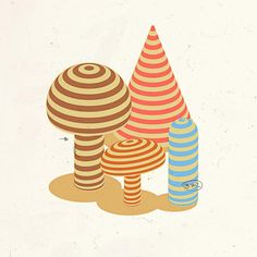 Growing... #vector #デザイン #illustration #stripes #prrrtv #mushrooms #rain #garden #paper #autum #doodle