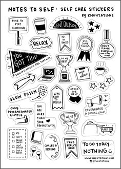 Self Care Sticker Sheet - Sticker sheets - Self care sticker sheet from Kwohtations - Printable Planner Stickers, Journal Stickers, Scrapbook Stickers, Printables, Black And White Stickers, Cute Laptop Stickers, Homemade Stickers, Tumblr Stickers, Good Notes