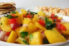 Shrimp Tostada with Mango Salsa: A sweet and savory tropical meal made with wild blue shrimp, topped with mango salsa and served on a crunchy tortilla shell. Mango Dipping Sauce Recipe, Shrimp Tostadas, Clean Recipes, Healthy Recipes, Mango Salsa Recipes, Coconut Rice, Food Places, Sweet And Spicy, Vegan Dishes